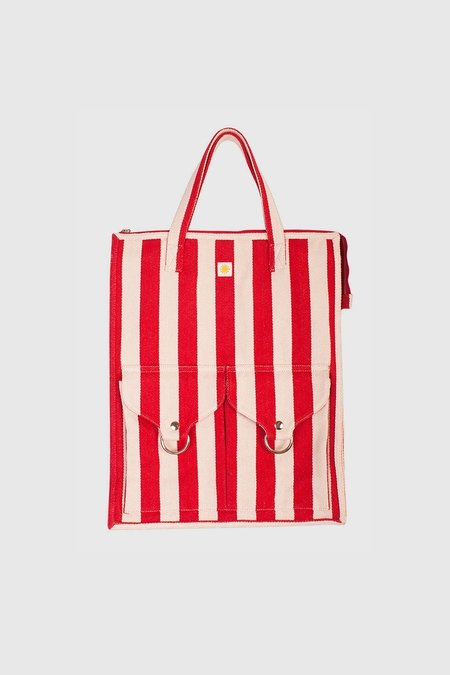L.F.Markey Striped Beach Bag - Red Stripe