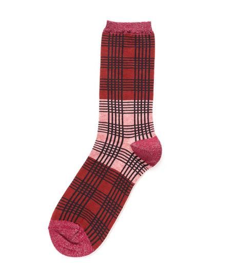 Alto Milano 268 Floppy Socks - Salmon/Red Plaid