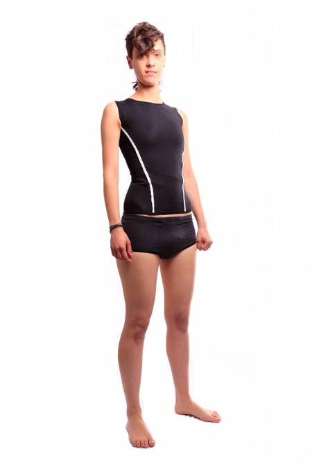 Danaë Binding Swim Top - Black/Grey