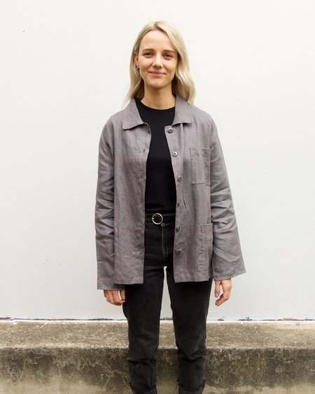 Linen and Lime Linen Chore Jacket - Grey