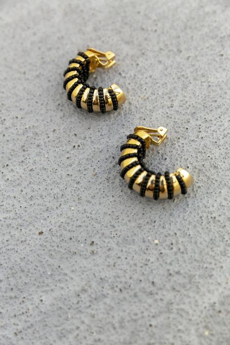 WAIWAI GUINE EARRINGS - GOLD/BLACK