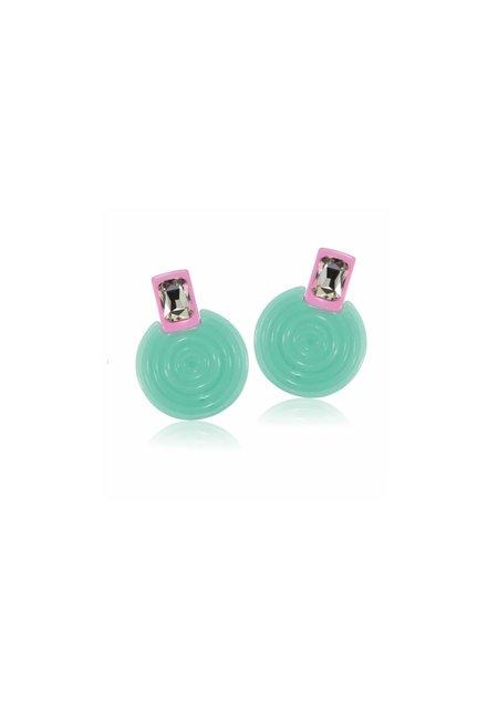 TY'S GROCERY Diamond Frisbee Earrings - GREEN