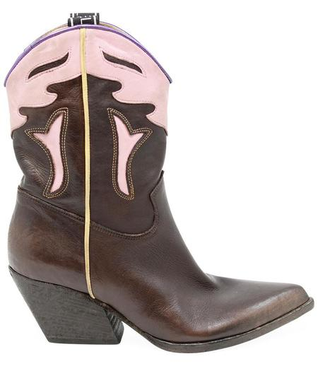 Elena Iachi Western Boots - Brown/Pink