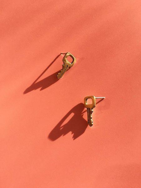 Mitchell Street Metal Key Stud Earrings - Brass