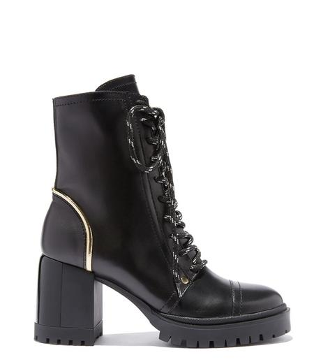 Casadei Heel Lace Up Boot - Black/Gold