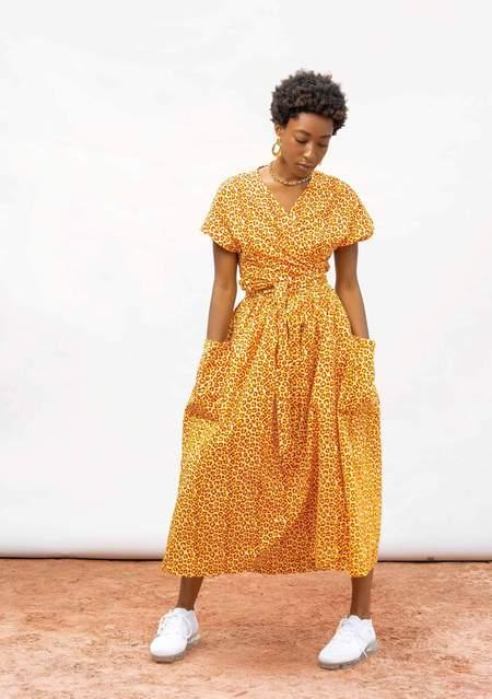 Yevu Midi Wrap Dress - Poppy