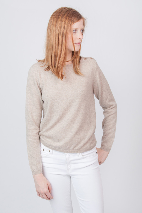 Chinti and Parker Cashmere Pineapple Elbow Patch Sweater