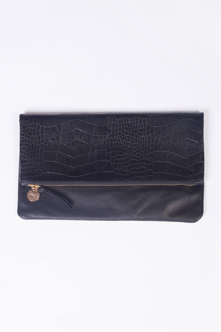 Clare V. Core Surpreme Foldover Clutch Black Pebble