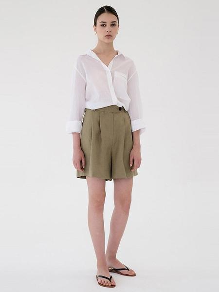 BLANK03 Linen Short Pants - Khaki