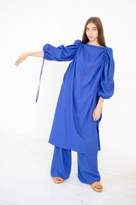 Baserange Honda Raw Silk Dress - Aster Blue