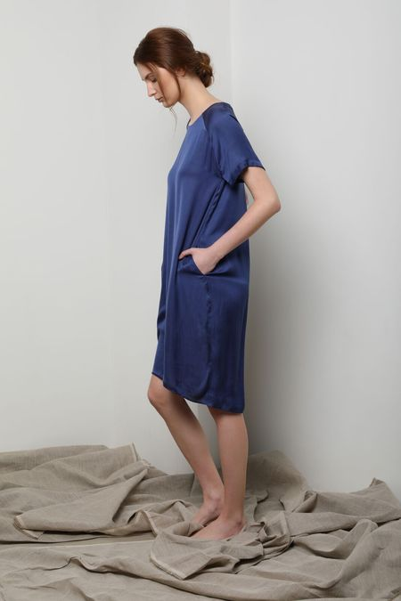 Neu Nomads Cocoon Dress with Pockets - Lapis Blue