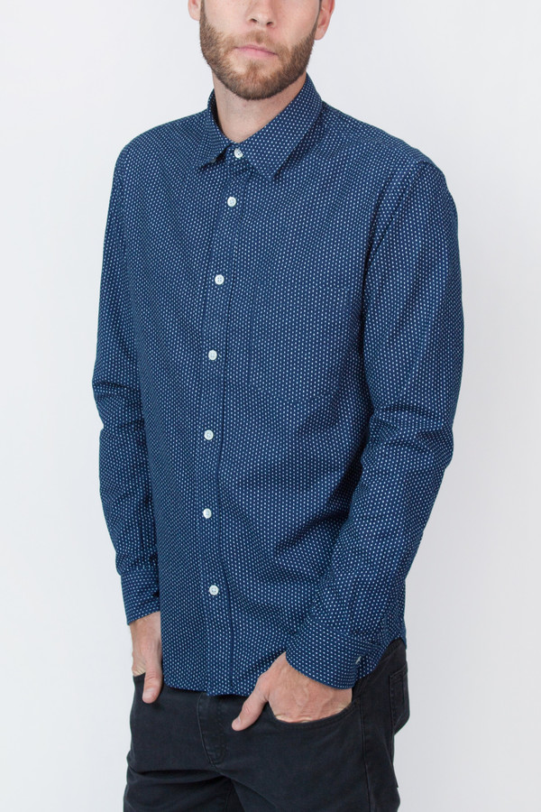 Men's Corridor Indigo Drop Dot Long Sleeve Shirt