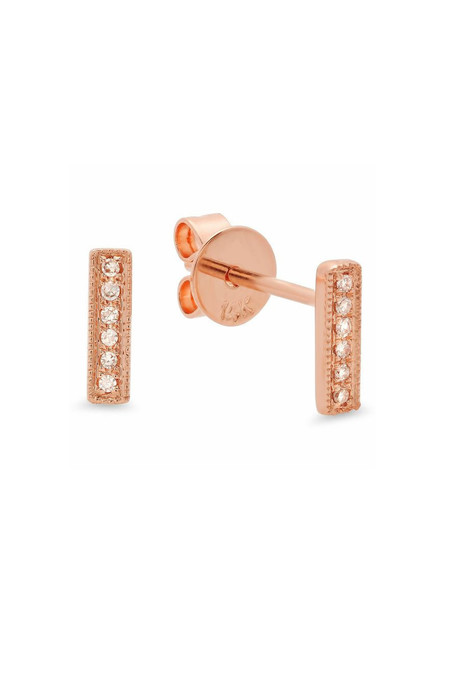 Sachi Jewelry Mini Bar Studs - 14K Rose Gold