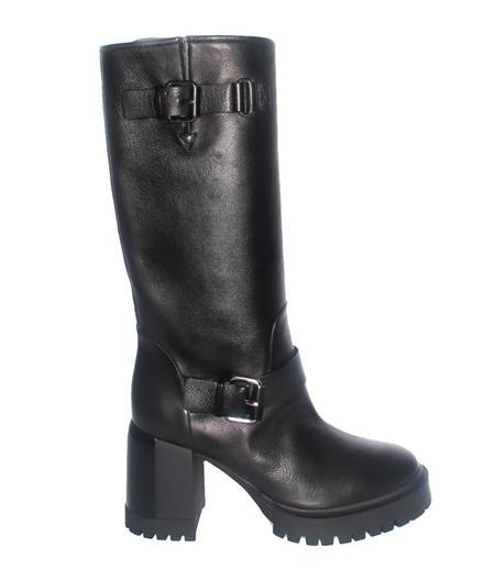 Casadei Black Mid Calf Buckle Boot - black