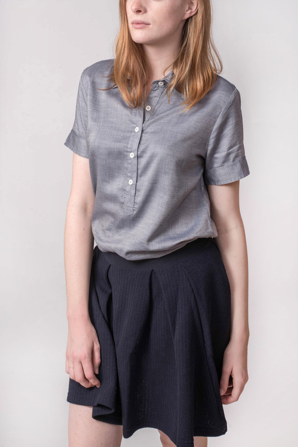 The Lady & the Sailor Short Sleeve Collared Henley