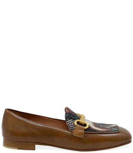 Madison Maison By Mara Bini Gioia Flat Loafer With Snake - Tan