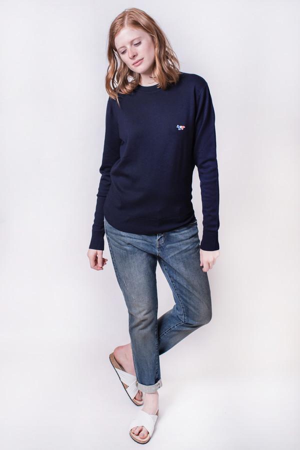 Maison Kitsune Virgin Wool RNeck Sweater Navy