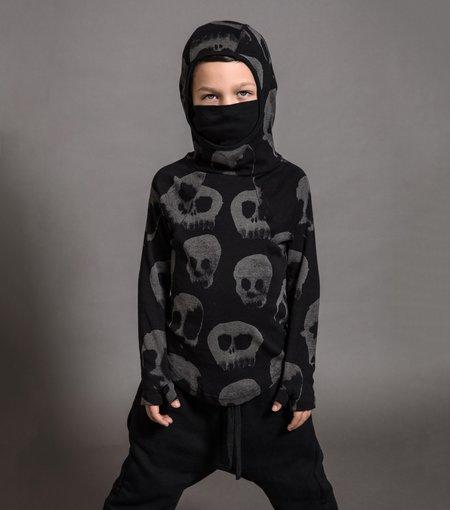Kids Nununu All Over Water Skull Ninja Shirt - Black
