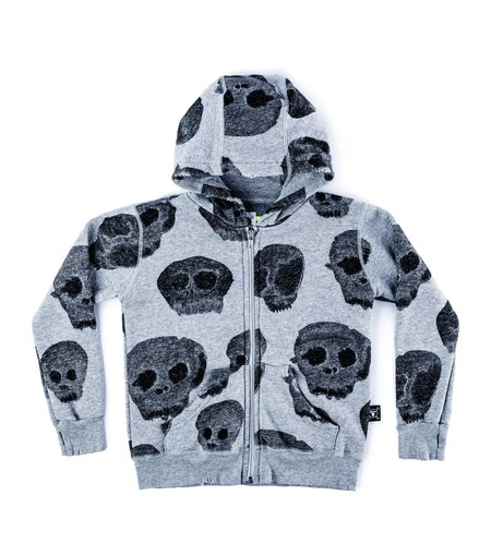 Kids Nununu Water Skull Zip Hoodies - Heather Grey