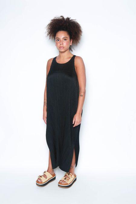 Issey Miyake Halter Maxi Dress w/ Ties - Black