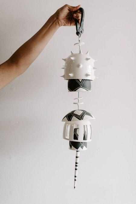 Little Bear Pots Hanging Spike Chime - Black/White