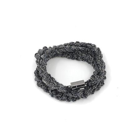 Janjoon Lina Gunmetal & Silk Linen Combo Necklace/Wrap Bracelet