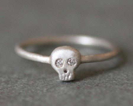 Michelle Chang Mini Skull Ring - Sterling Silver/Diamonds
