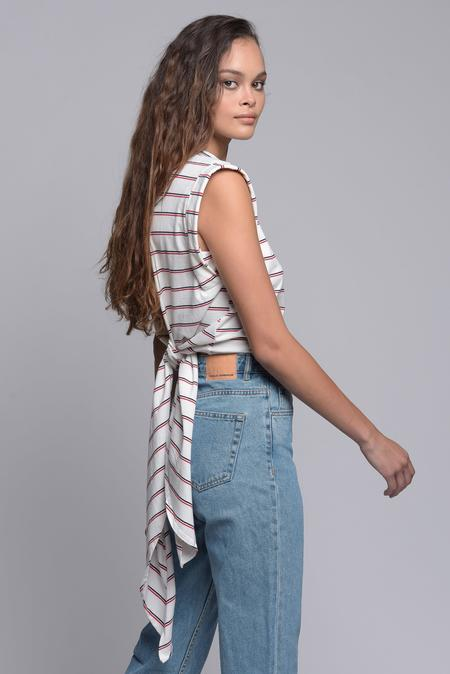 Sam & Lavi Wrap Tie Top - Stripe