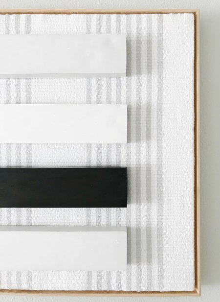 Shelly Sazdanoff Concrete Block and Handwoven Linen Artwork