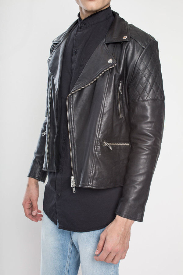 Men's TOURNE DE TRANSMISSION Existence Leather Biker Jacket in Black