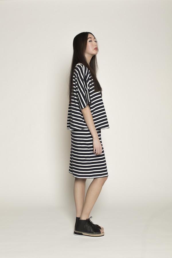 Kowtow Homeward Dress in Navy/White Stripes