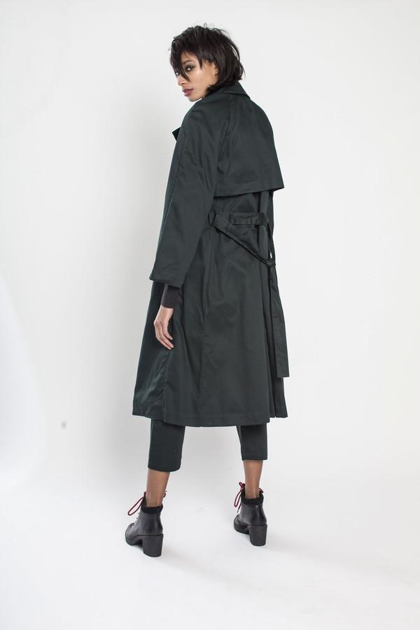 KOWTOW Keepsake Trench Coat in Dark Green