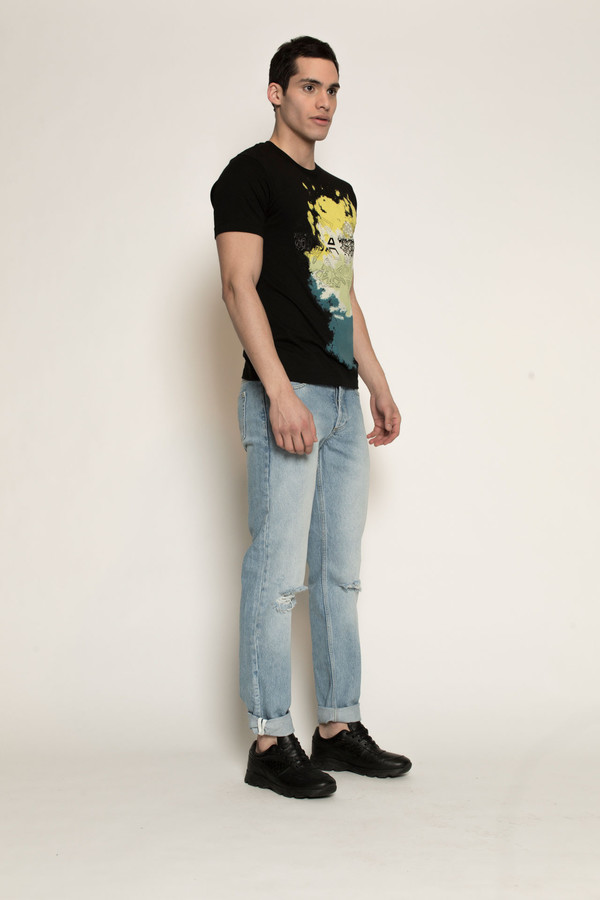 Men's Kenneth Ning Spice Stencil Printed T-Shirt in Black