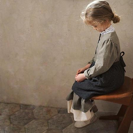 kids Tambere Long Sleeved Corduroy Dress - Khaki Grey