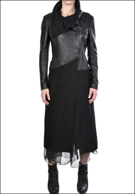 La Haine Leather and Wrought Broadcloth Coat