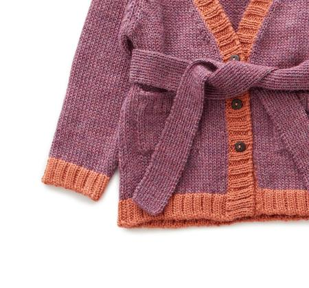 kids Oeuf Belted Knit Cardigan - pink