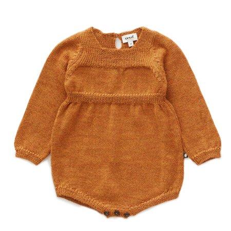 kids Oeuf Knit Romper - brown