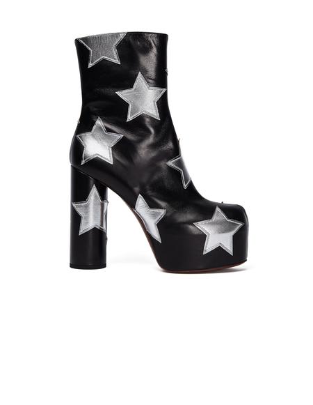 Vetements Leather Star Platform Ankle Boots - Black