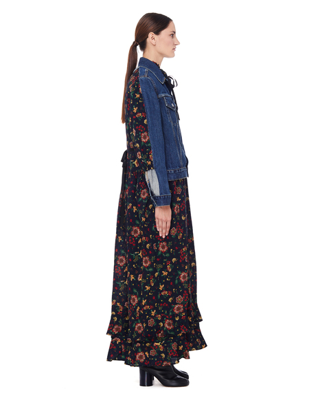 Junya Watanabe Flower Dress With Denim Jacket - Multicolor
