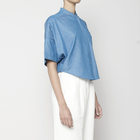 7115 by Szeki Pocket Cropped Shirt- Indigo SS16