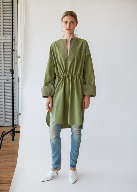 Nomia Oversize Tunic with Binding - Bottle Green/Khaki