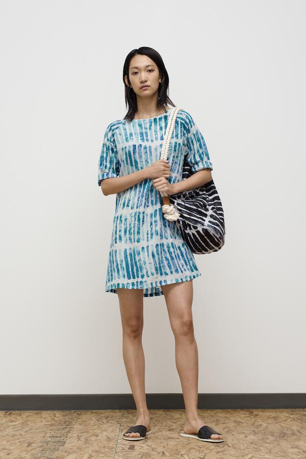 Osei-Duro Linter Dress in Marine Chalk