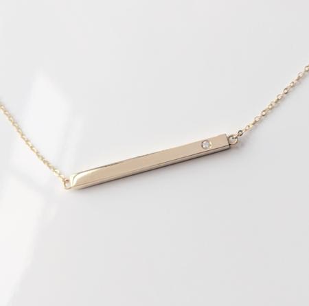 Thatch Bar Necklace - 14k Gold