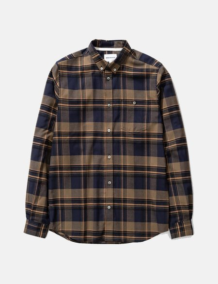 Norse Projects Anton Brushed Flannel Shirt - Ivy Green Check