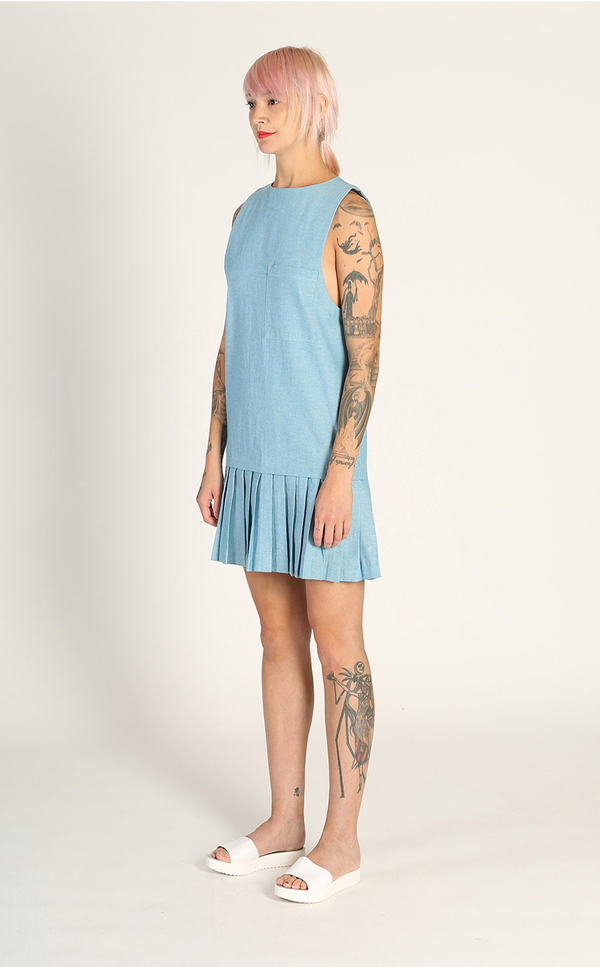 Kurt Lyle Princeton Pleat Dress - 1970s Denim
