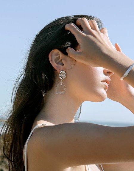 Cled Large Drop Coastline Earrings - Sterling Silver