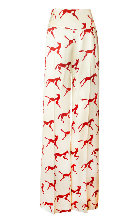 Alejandra Alonso Rojas Hand Painted Horse Print Trouser - Ecru/Red