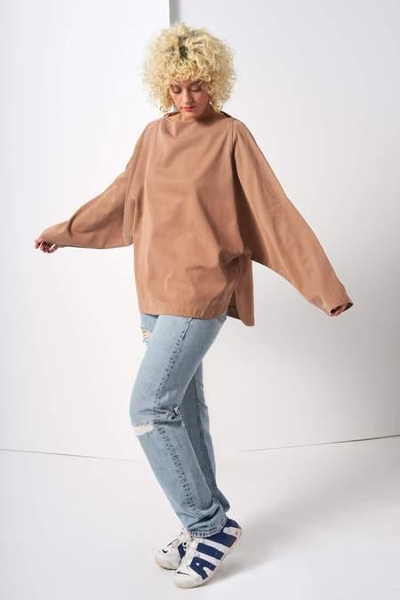 Black Crane Folded Neck Top - Camel