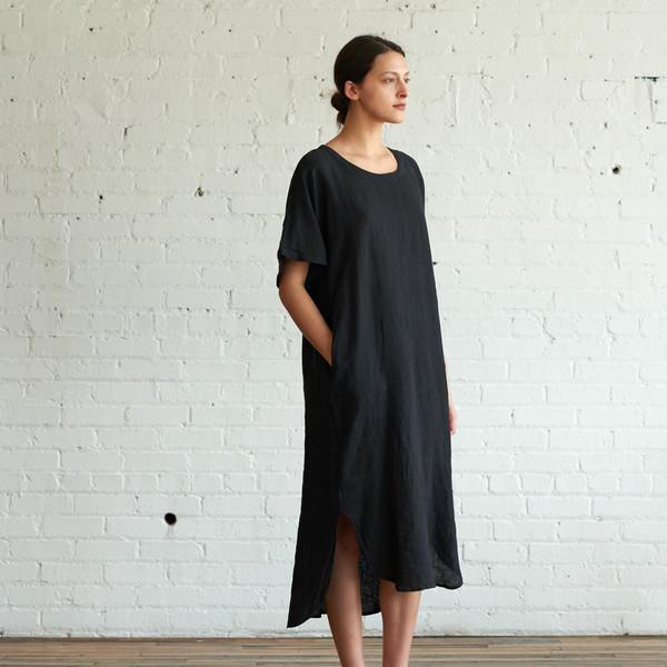 Black Crane Linen Long Dress Black