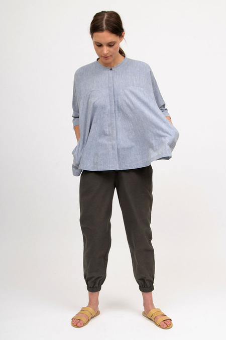 Bodice Godet Top - blue